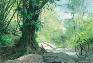 Watercolour painting of a streamside path in Tobago