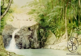Watercolour painting of the Argyll Falls in Tobago