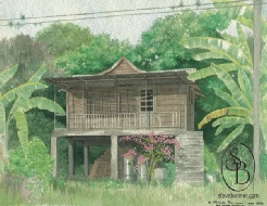 Watercolour painting of a Tobagonian Chatel House