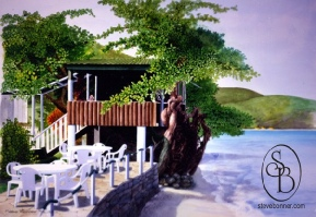 Watercolour and gouache painting of Jemmas Restaurant, Tobago