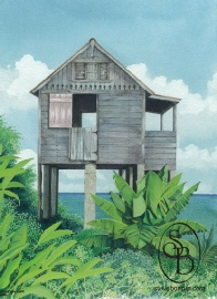 Watercolour & gouache painting of a Tobagonian chatel house